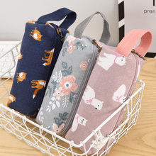 Novelty Raccoon Alpaca Fox Canvas Pencil Case Stationery Kids School Pencil Cases Boys Girls Pencil Bag for School Supplies(China)