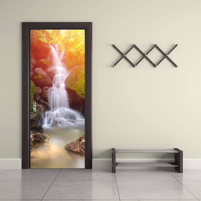 Modern 3D Waterfall Scenery Wall Painting PVC Wall Mural Stickers DIY Living Room Bedroom Waterproof Door Wall Papers Home Decor pentium horse living room bedroom door mural wallpaper sticker pvc self adhesive waterproof wall papers home decor wall painting