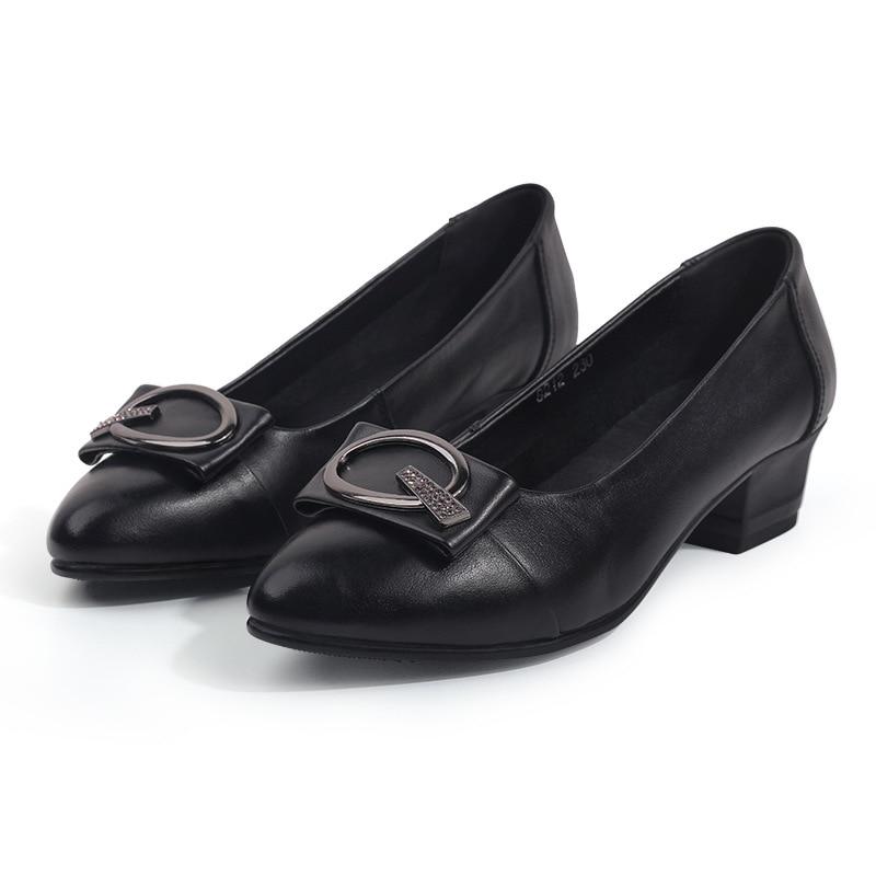 Hohe qualität mode frauen weichem leder platz high heels pumps schuhe mit schnalle 4,5 cm heels mode frauen schuhe-in Damenpumps aus Schuhe bei  Gruppe 1