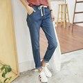 Новое поступление 9133 женские брюки эластичный пояс ремень свободного покроя джинсы женские