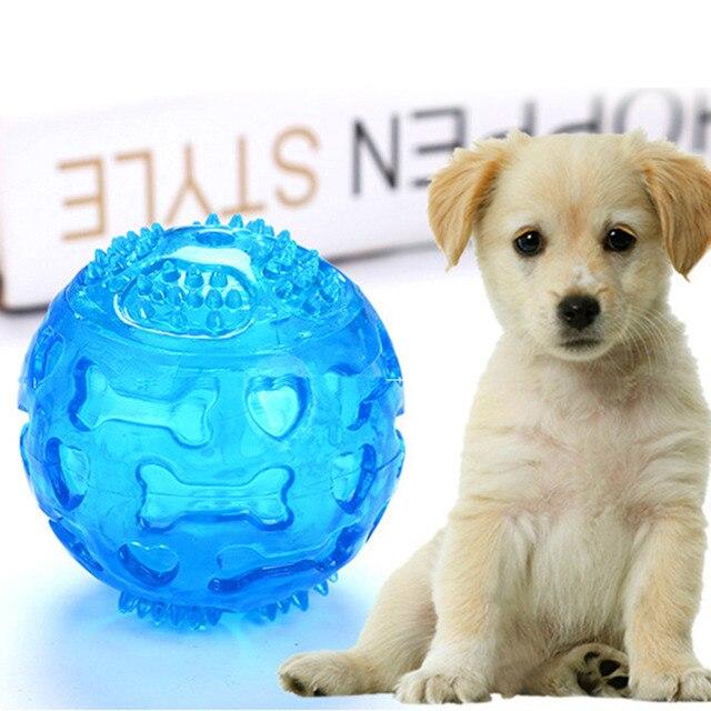 Pet Dog Chew Toy Sfera Impermeabile Squeak Suono Giocattoli Morso Resistente Pal