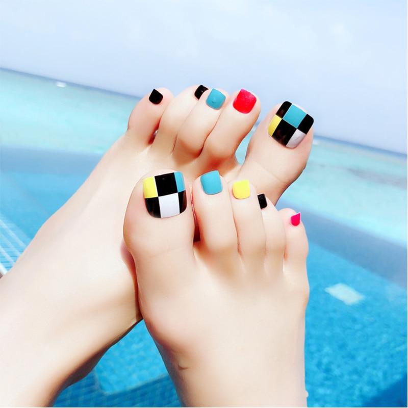 24pcs/Set Summer Cute Geometric Toes False Nails Mix Color Patch ...