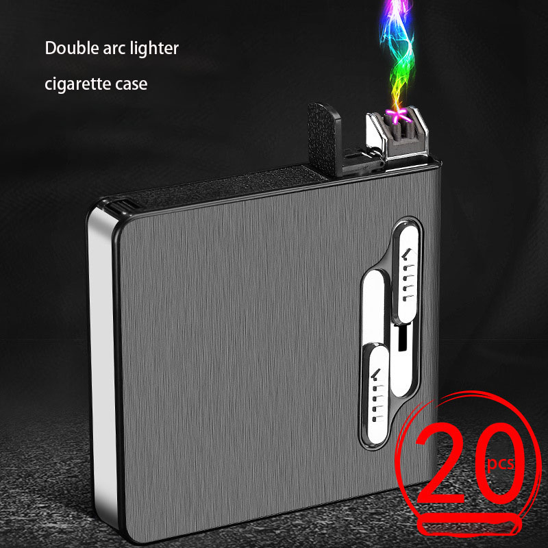 Portable USB Electronic Cigarette Case With Double Arc Lighter 20pcs Cigarette Box Holder USB Charging Lighter Gadgets For Men