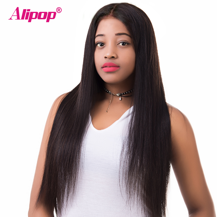[ALIPOP] Straight Brazilian Lace Front Human Hair Wigs For Black Women With Baby Hair Pre Plucked None remy Hair Wig 8″-24″