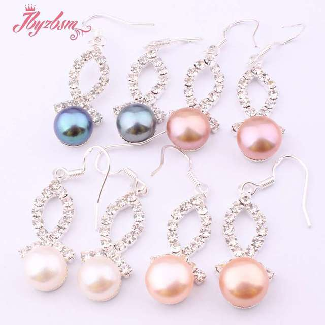 8mm Natural Round Freshwater Pearl Stone Beads Tibetan Silver Dangle Hook  Earrings 1 Pair a2f66d19a241