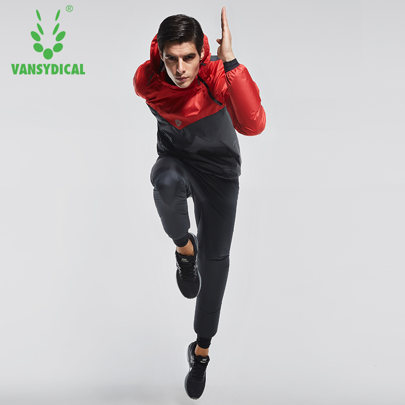 Vansydical Brand Men Fitness Sweat Suit 2pcs Gym Windbreaker Running Jacket Basketball Training Tracksuits