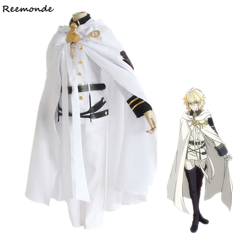 Anime Seraph Of The End Cosplay Costumes Mikaela Hyakuya Top Pants Cloak Combats For Men Boys