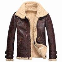 Vintage Mens Leather Lambs Fur Fleece Bomber Flight Winter Coats Buckle Jacket E45
