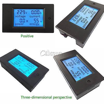 20A AC Digital LCD Panel Power Meter Monitor Power Energy Ammeter Voltmeter Blue Backlight Dual Measuring 80 260V