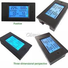 Цифровой измеритель мощности с ЖК панелью 20A AC, измеритель мощности, амперметр, вольтметр с синей подсветкой, двойные измерения 80 260 В
