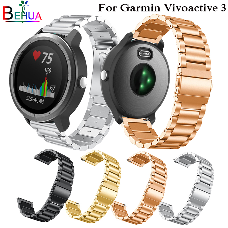 все цены на 20mm Metal Stainless Steel Replacement Strap for Garmin Vivoactive 3 Smart Watch Band For Garmin Vivoactive3 Watchband Bracelet онлайн
