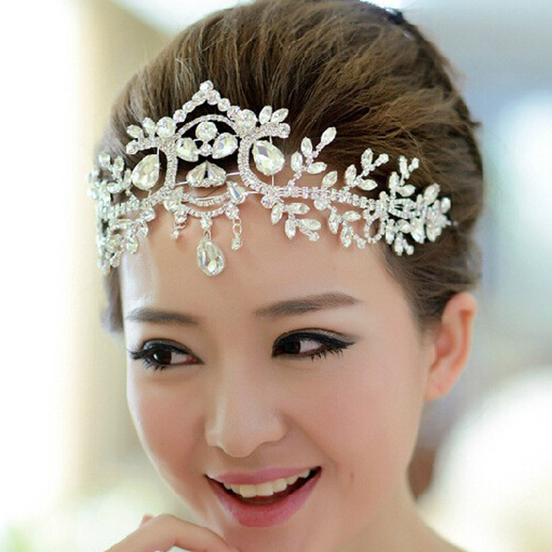 Wedding Hairstyle With Headband: Gold Silver Rhinestone Women Wedding Forehead Tiara And