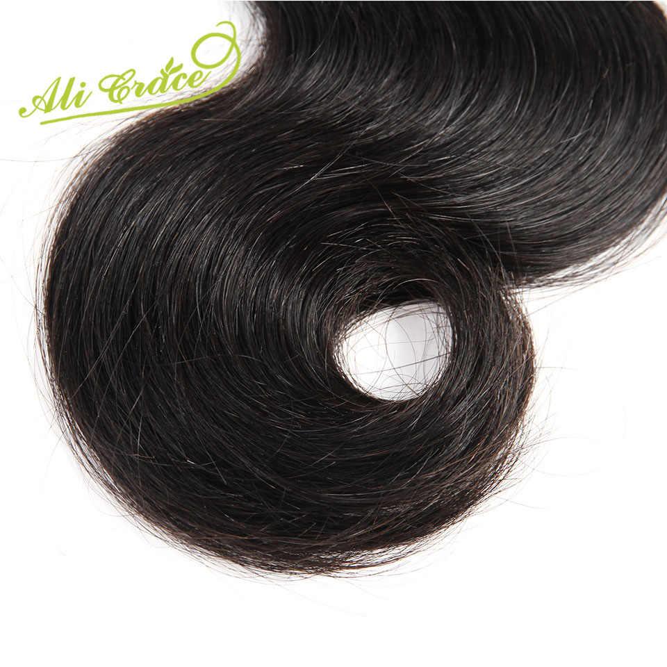 ALI GRACE Haar Maleisische Lichaam Wave Haar Natuurlijke Zwarte 10-28 Inch 100% Remy Human Hair Weave Bundels 1 stuk Gratis Verzending