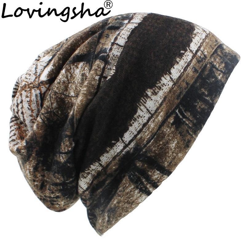 LOVINGSHA Autumn Winter Women Skullies Beanies Vintage Design Dual-use Hats For Girl Thin Ladies Fashion Feminino Scarf HT075
