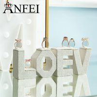 ANFEI LOVE Display Stylish Beige Linen Jewelry Display Set MDF Wedding Ring Holder Stand For Boutique Displays Exhibitor GD028
