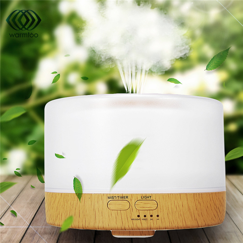 US Plug 500ml Ultrasonic Aroma Humidifier Essential Oil Diffuser Aromatherapy Diffuser LED Lights Changing Mist Maker 100-240V hot sale humidifier aromatherapy essential oil 100 240v 100ml water capacity 20 30 square meters ultrasonic 12w 13 13 9 5cm