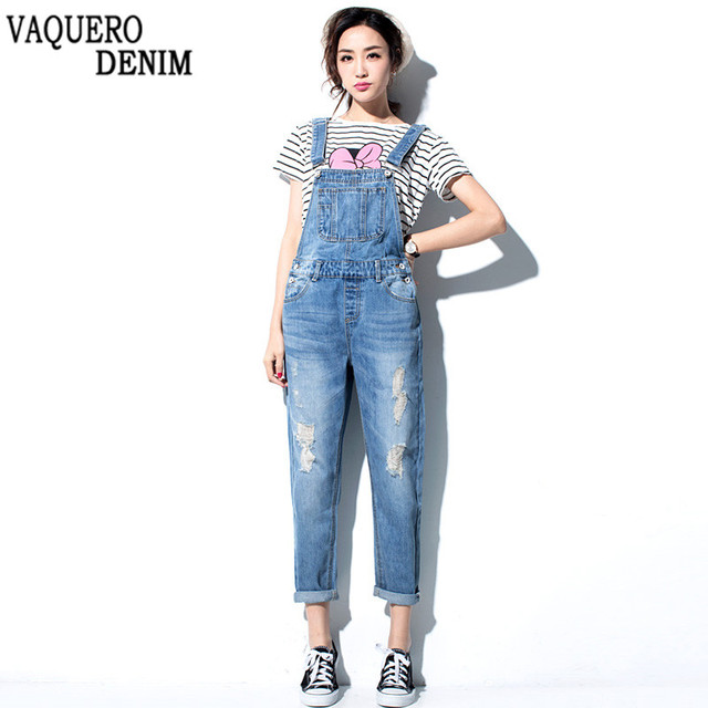 Jeans Agujero Mono Mujer Mamelucos 2016 Pantalones Ocasional Mezclilla de Ripped Overol Bolsillos Flojo Rasgado Para q6Awx8Uwf