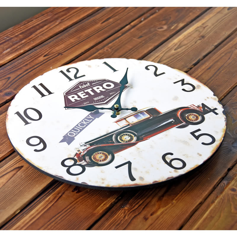 New Arrival Retro Car QUICKLY Mute Wood Wall Clocks Nostalgic Home Decor  Mural Large Clock For