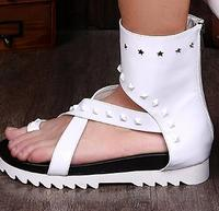 Summer breathable fashion high top male sandals youth trend personality white rivet han version of male cool boots