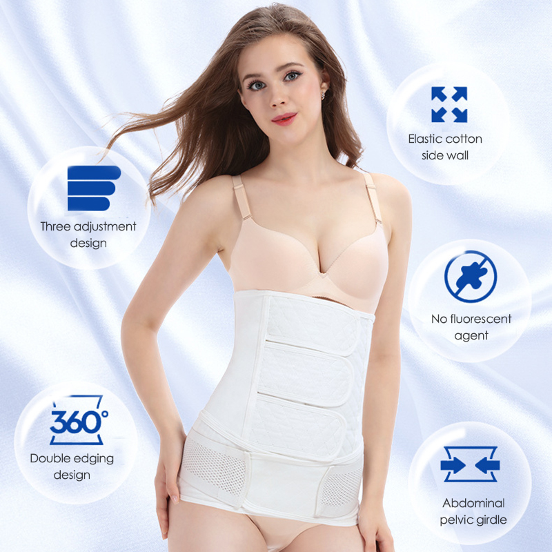 4 Cartilage Cotton Abdominal Belt Breathable Postpartum Corset Belt Set Waist Training Abdomen Shapewear Toiletry Kits