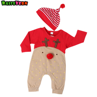 Kids Overall 2pcs Christmas New Long Sleeve Fawn Printed Clothes 3 18M Newborn Infant Rompers Hat