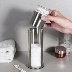 Ze stali nierdzewnej pyłoszczelny wacik kosmetyczny wacik uchwyt na pudełko do przechowywania kreatywny Storage Case organizator pojemniki z pokrywką