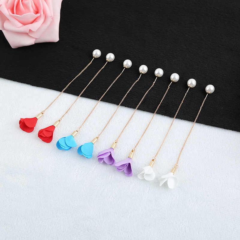 Nam Hàn Quốc giả ngọc trai tai dây chuyền dài bông tai hoa D'oreille Tua Rua Mặt dây chuyền tính khí đơn giản Bông Tai Dành Cho Nữ