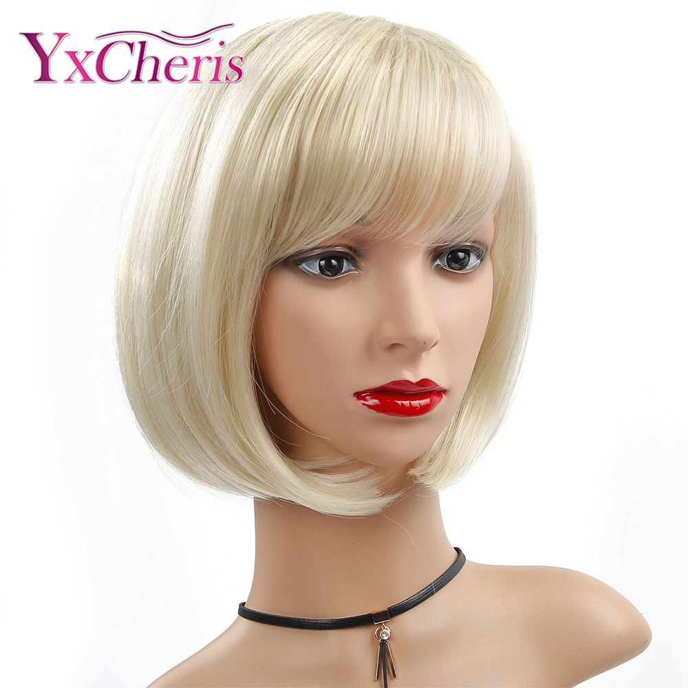 Synthetic Wig Straight Bob Hair Cut With Bangs Heat Resistant Blonde Women's Capless Natural Wigs Short Womens Hair
