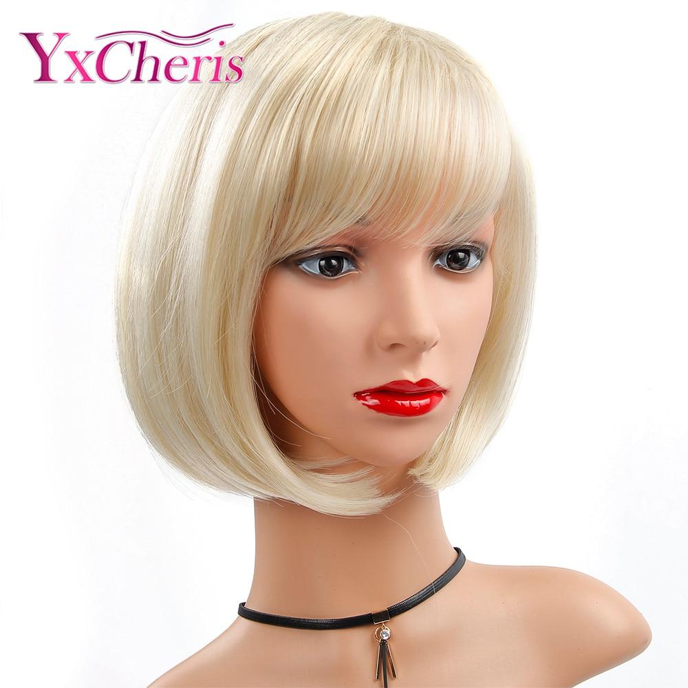 peruca sintetica reta cabelo bob corte com franja resistente ao calor loira capless perucas naturais de