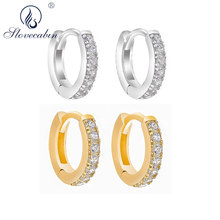 Slovecabin 925 Sterling Silver Gold Huggie Hoop Earrings Clear Zircon Clip On Circle Earring Tiny Mini
