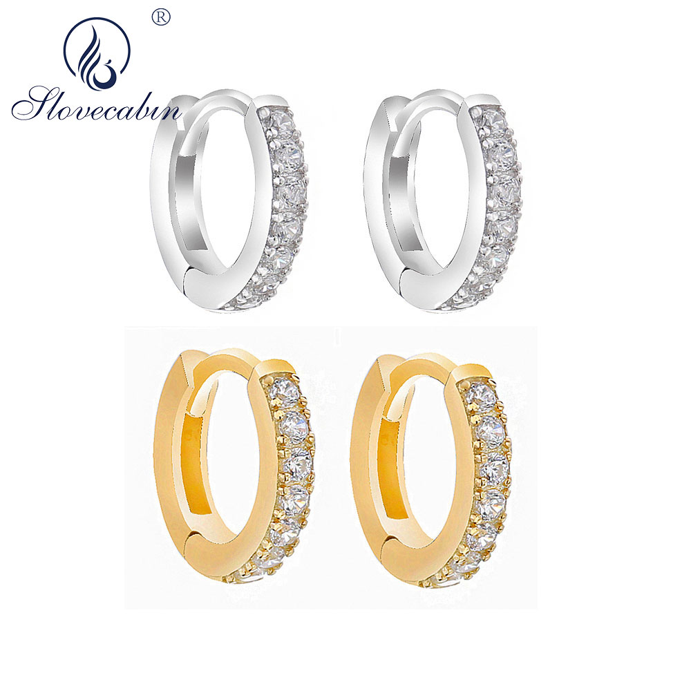925 Sterling silver and 9ct rose gold plated diamond earrings RRP £79.99