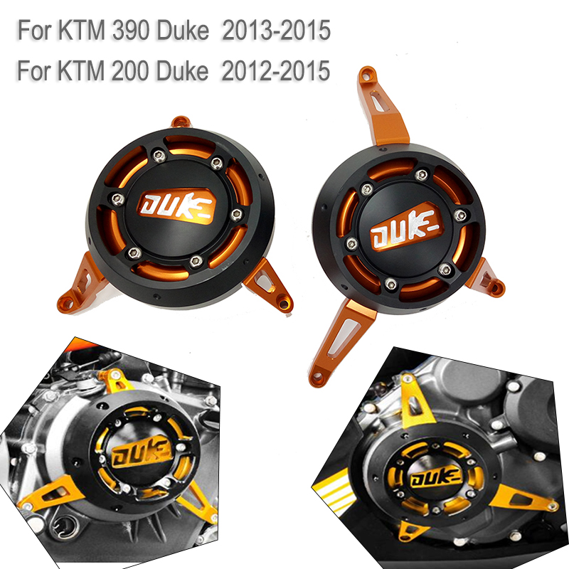 For KTM 390 200 DUKE RC390 RC200 2012 2013 2014 2015 CNC Engine Cover Slider Frame Protection Engine Stator Case Saver for ktm logo 125 200 390 690 duke rc 200 390 motorcycle accessories cnc engine oil filter cover cap