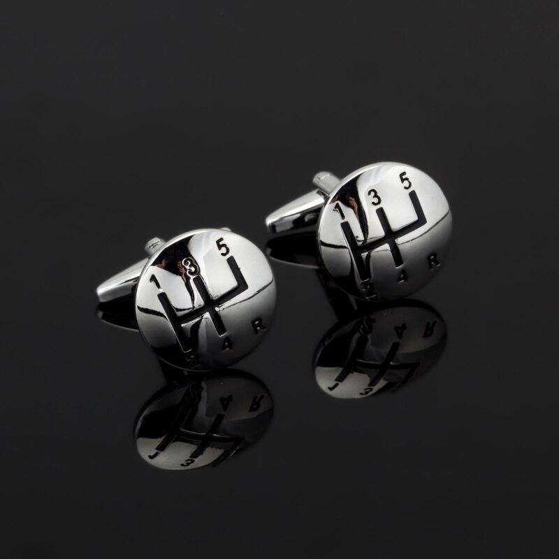 High quality copper silver round car gear Cufflinks shirt cuff Cufflinks men French mens fashion jewelry