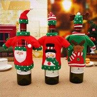 Lovely Sweater Christmas Wine Bottle Cover Set ELK Deer Santa Snowman Red Knitted Wine Bottle Dress for Christmas Decorations