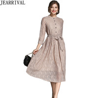 Elegant Women Lace Dress 2017 Autumn Fashion Solid Color 3 4 Sleeve Stand Collar Hollow Out