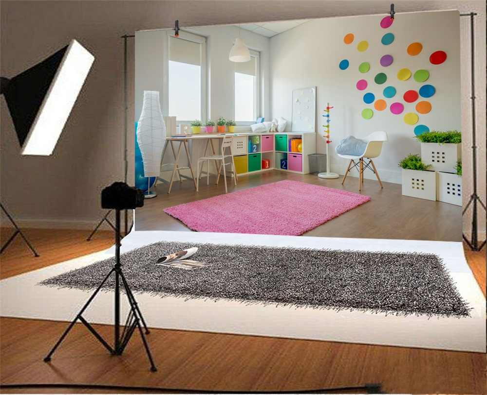 Laeacco Brinquedoteca Bebê do jardim de Infância Cadeira Cobertor Mesa Retrato Interior Fundo Fotografia Fotografia Cenário Foto Stuio