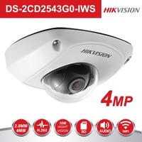 Hikvision Video Surveillance WiFi Camera DS 2CD2543G0 IWS 4MP Wireless IR Mini Dome Security IP Cameras POE H.265+ Built in Micr