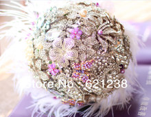 Holding flowers lilac feathers, ostrich feather & brooch bouquet ideas, wedding jewelry of choice for holding flowers(China)