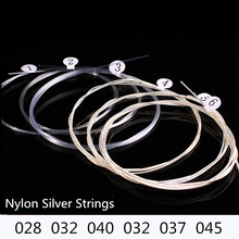 6pcs Classical Guitar Strings Nylon Silver Strings Set CGN10 028-045 Plating Super Light for Classical Guitar E B G D A E 20pcs classical guitar strings nylon 3%polyester classic guitarra strings normal