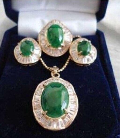 Ensemble de bijoux en cristal de cristal de haute qualité ensemble de boucles d'oreilles en zircon incrusté de gemme verte