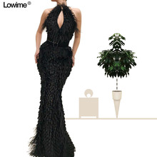 Lowime Black Feathers Appliques Prom Dresses Evening Dress