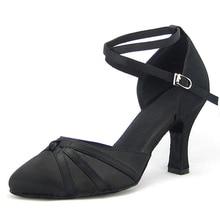 Mulher ballroom latina sapatos de dança preto cetim salsa tango valsa ponto fechado toe sapatos de dança social salto 6/7.5/8 camurça sola 1752