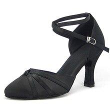 ผู้หญิงบอลรูมรองเท้าเต้นรำแบบละตินสีดำซาติน Salsa Tango Waltz ปิด Point Toe Social Dance รองเท้าส้น 6/7.5/8 รองเท้าหนังนิ่ม 1752