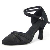 Women Ballroom Latin Dance Shoes Black Satin Salsa Tango Waltz Closed Point Toe Social Dance Shoes Heel 6/7.5/8 Suede Sole 1752