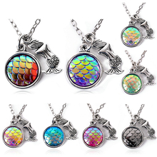 Buy holographic pendants and get free shipping on aliexpress mermaid fish scale pendant rainbow holographic sequins charm necklace unique new nice giftchina mozeypictures Images