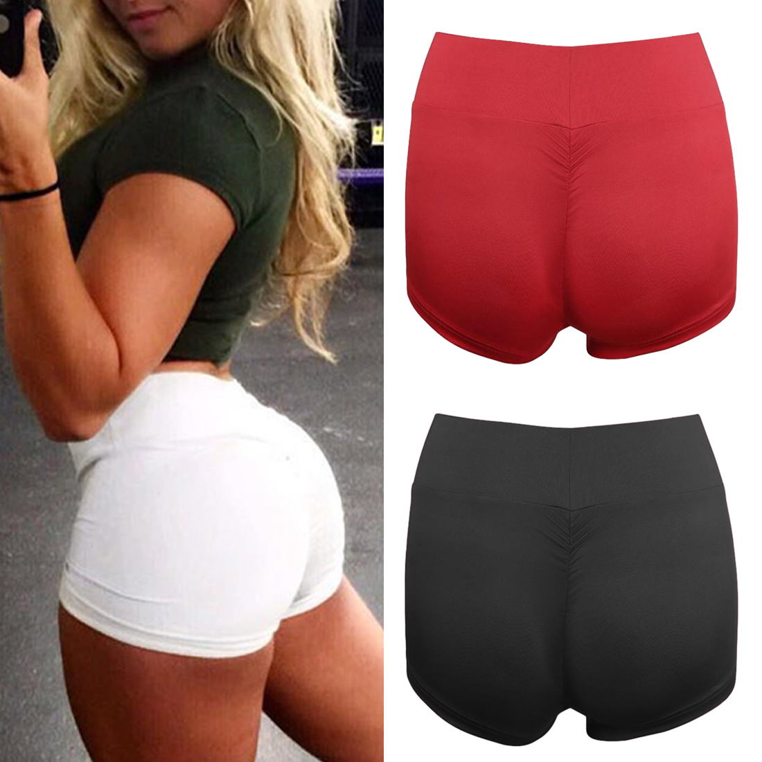 Sexy   Shorts   Women Sports Wear Fitness   Short   Pants Skinny Female Push Up Gym Clothing Solid Color Elastic Breathable Flex
