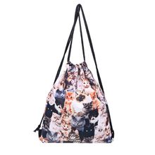 3D Print Drawstring Mini Bag Cute Cats Cinch Sack Rucksack Shoulder Bags Gym Bag