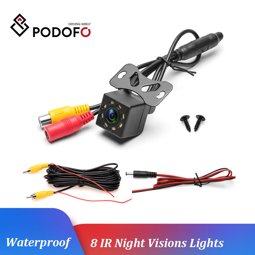 Podofo Car Rear View 8 IR Camera Night Vision Reversing Auto Parking Monitor CCD Waterproof 170 Degree HD Video Backup Camera