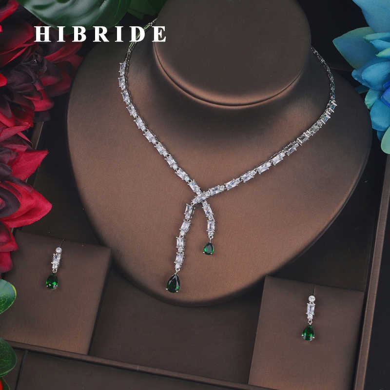 HIBRIDE Luxury Design Green Small Full Cubic Zircon Bridal Jewelry Set Fashion Drop Earring Necklace Wedding Accessories N-687