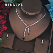 HIBRIDE Luxury Design Green Small Full Cubic Zircon Bridal Jewelry Set Fashion Drop Earring Necklace Wedding Accessories N 687